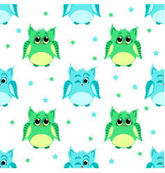 Cute green and blue colored owls vector