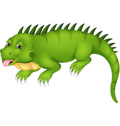 Cute iguana cartoon posing with laugh vector
