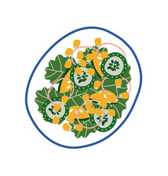 delicious vegetarian salad on plate fresh healthy vector image