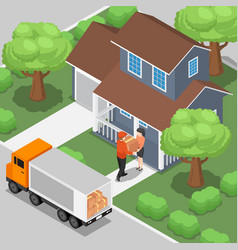 delivery man shipping the products box to vector image