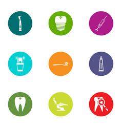 dental fix icons set flat style vector image