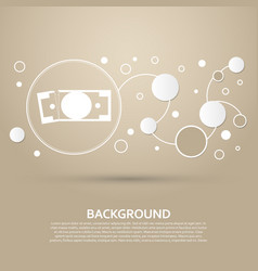 Dollar icon on a brown background with elegant vector