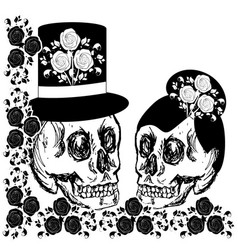 Drawings skulls with flowers vector
