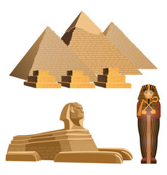 egyptian pyramids ancient sphinx and sarcophagus vector image