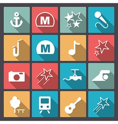 Entertainment icons in flat design vector