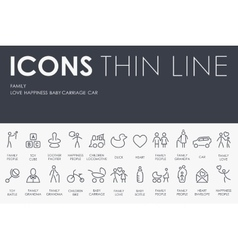 family Thin Line Icons vector image