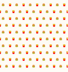 fast food hamburger and french fries seamless vector image