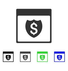 Financial shield calendar page flat icon vector