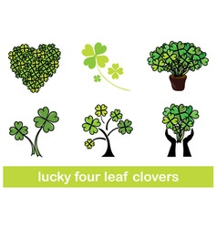 four leaf clovers set vector image