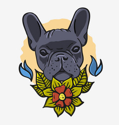 French bulldog vintage traditional tattoo vector