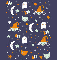 funny hand drawn halloween pattern vector image