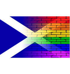 gay rainbow wall scotland flag vector image
