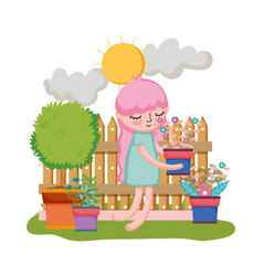 girl lifting houseplant with fence in the garden vector image