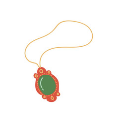 Gold chain with pendant jewelry accessory with vector