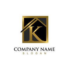 Gold letter k house logo vector