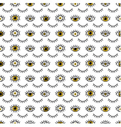 golden eyes pattern in line style fashion vector image