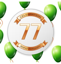 Golden number seventy seven years anniversary vector