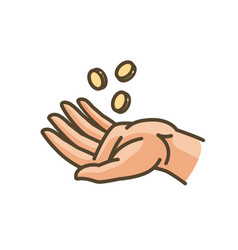 Hand and money or gold coins earnings cash vector