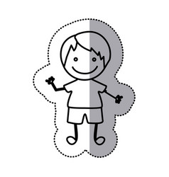 hand drawn sticker silhouette with boy vector image