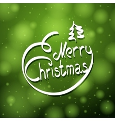 Hand written merry christmas lettering with little vector image