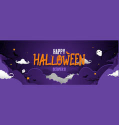 happy halloween banner night sky spooky background vector image