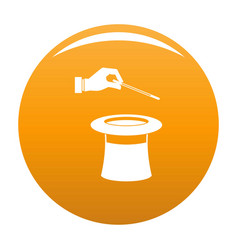 hat with hand icon orange vector image