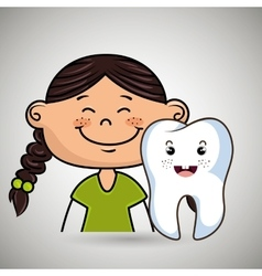 healthy cartoon girl and tooth vector image