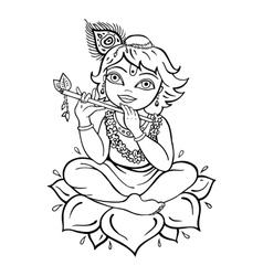 Hindu God Krishna vector image