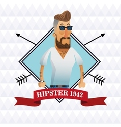 Hipster man cartoon design vector image