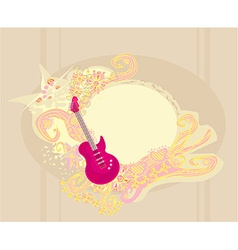 image of pink guitar with wide area for your vector image