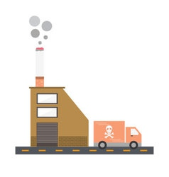Isolated cartoon cigarette factory delivery flat d vector