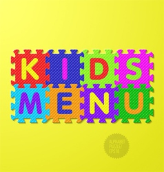 Kids Menu alphabet puzzle vector