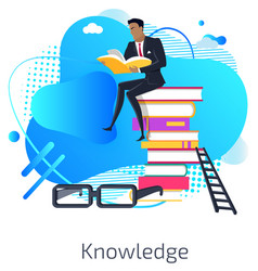 knowledge gaining male businessman on books vector image