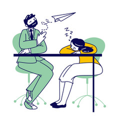 lazy business man and woman sitting at working vector image