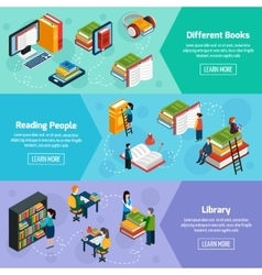 Library Isometric Horizontal Banners vector image