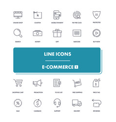 Line icons set e-commerce 1 vector