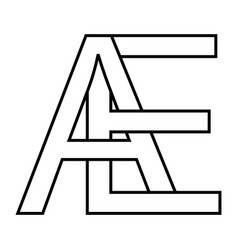 Logo ae icon sign two interlaced letters a e vector