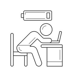 Low battery and tired worker line icon vector
