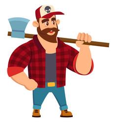 Lumberjack in cartoon flat vector