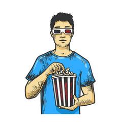 man with pop corn sketch engraving vector image