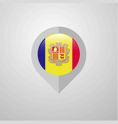 Map navigation pointer with andorra flag design vector