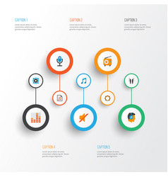music icons flat style set with fm play list mic vector image