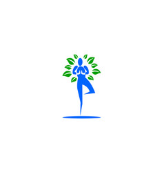 nature yoga logo template design vector image