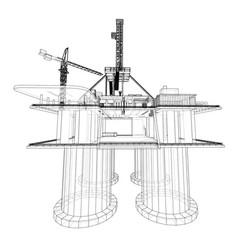 offshore oil rig drilling platform concept vector image