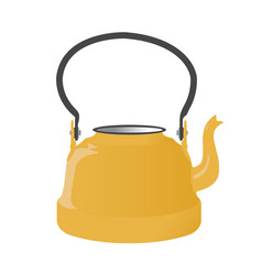 Old metallic kettle with handle vector