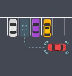 parking smart car sensor autonomous view vector image
