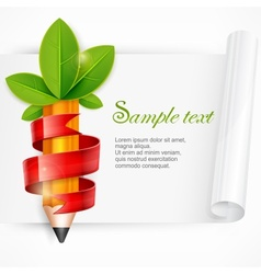 Pencil with leaves and ribbon vector image