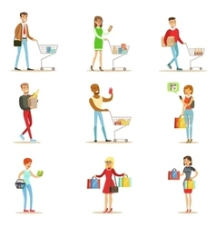 People Shopping In Department Store And Shopping vector