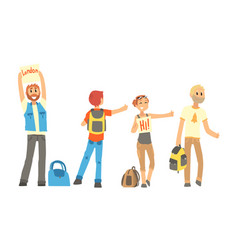 People travelling autostop collection male and vector