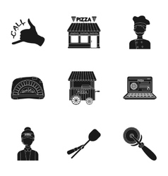 Pizza and pizzeria set icons in black style big vector